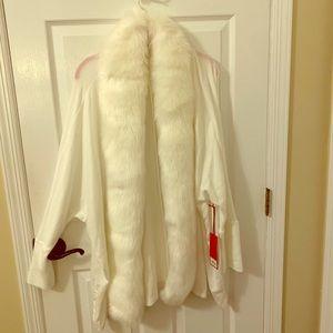 NWT Jennifer Lopez white faux fur cardigan XL